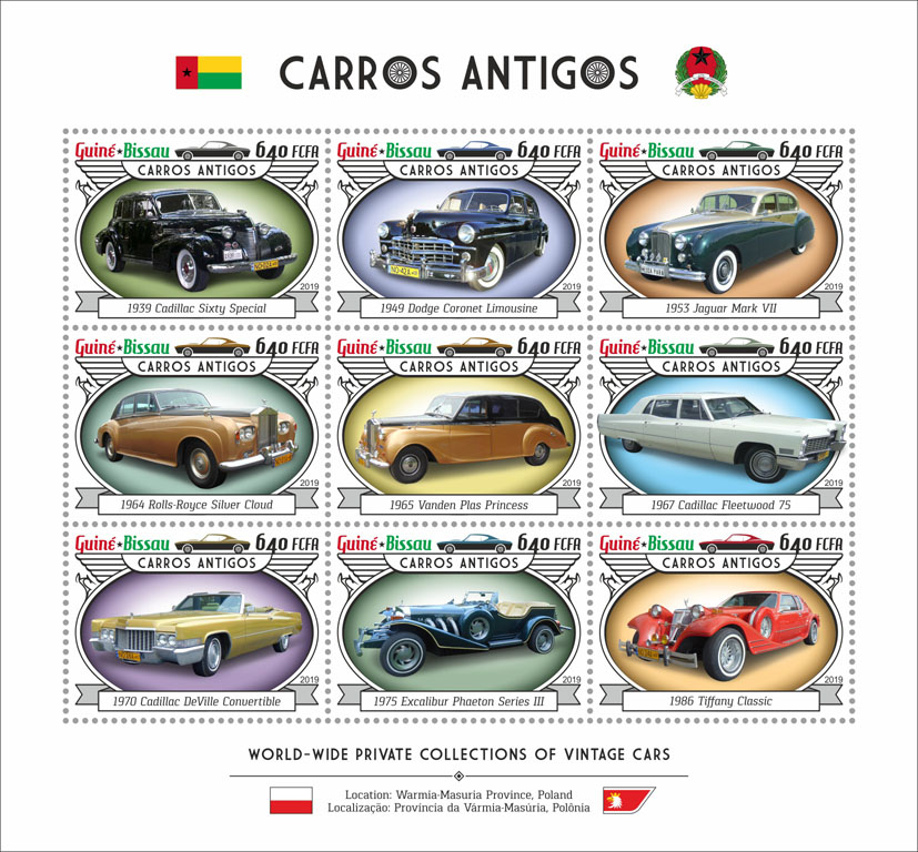 Vintage cars - Issue of Guinée-Bissau postage stamps