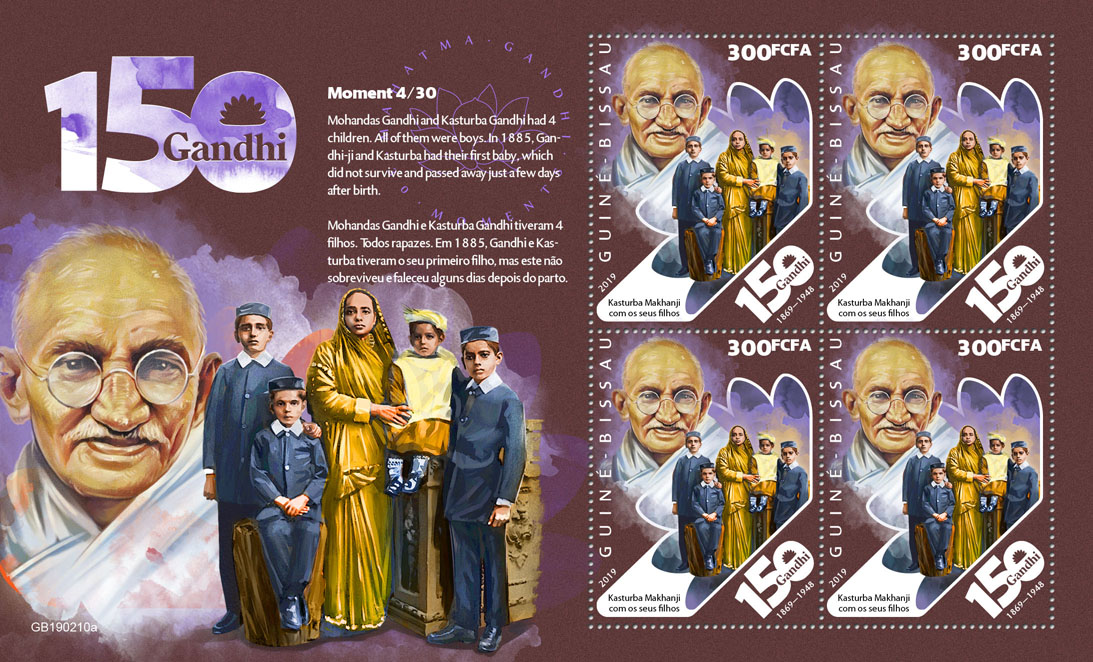 Mahatma Gandhi moments - Issue of Guinée-Bissau postage stamps