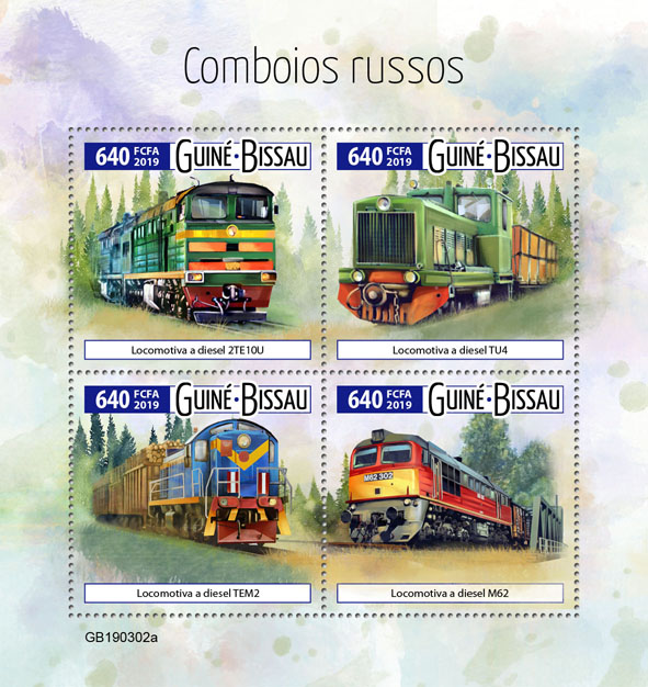 Russian trains - Issue of Guinée-Bissau postage stamps
