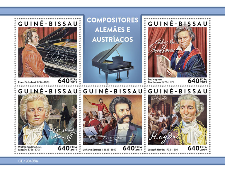 German-Austrian composers - Issue of Guinée-Bissau postage stamps