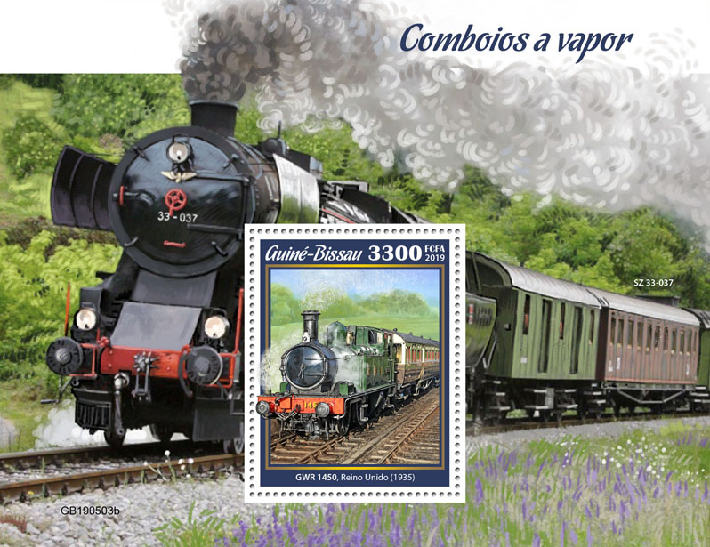 Steam trains - Issue of Guinée-Bissau postage stamps