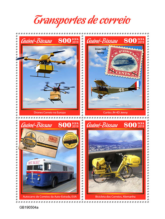 Mail transport - Issue of Guinée-Bissau postage stamps