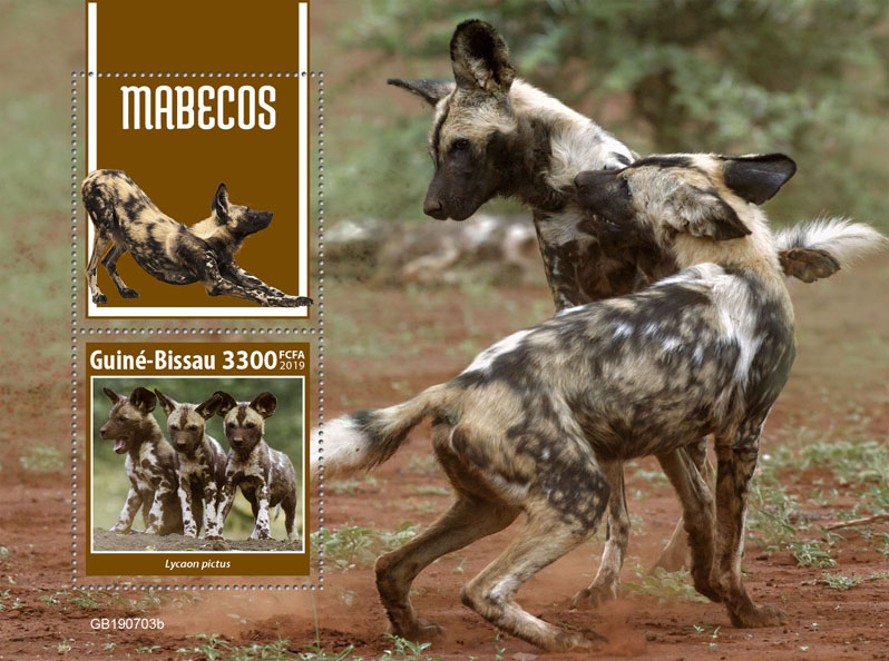 Wild dogs - Issue of Guinée-Bissau postage stamps
