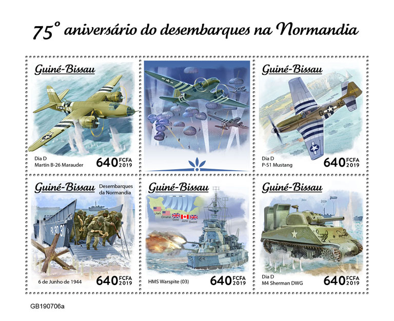 Normandy landings - Issue of Guinée-Bissau postage stamps