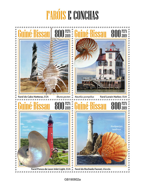 Lighthouses and shells - Issue of Guinée-Bissau postage stamps