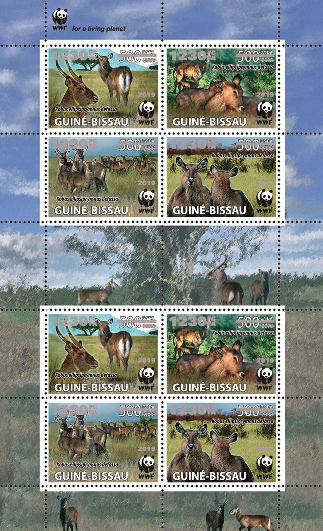 WWF overprint: Waterbuck 8v (silver foil) - Issue of Guinée-Bissau postage stamps