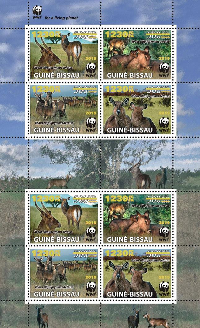 WWF overprint: Waterbuck 8v (gold foil) - Issue of Guinée-Bissau postage stamps