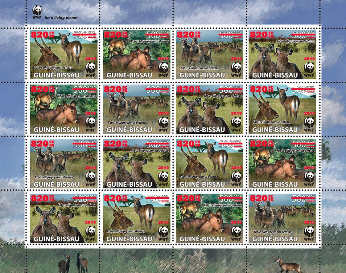 WWF overprint: Waterbuck 16v (red hologram foil) - Issue of Guinée-Bissau postage stamps