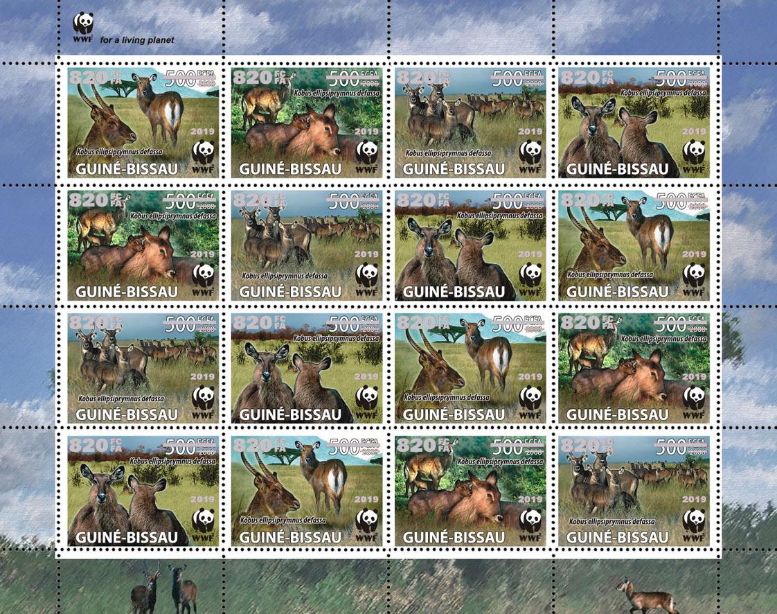 WWF overprint: Waterbuck 16v (silver hologram foil) - Issue of Guinée-Bissau postage stamps