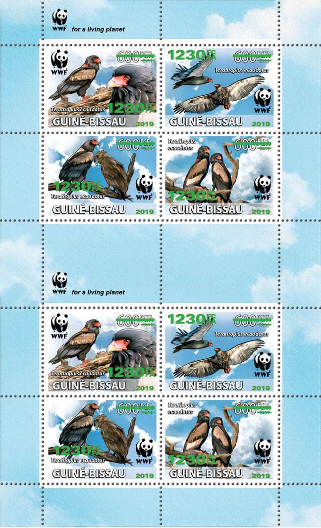 WWF overprint: Bateleur 8v (green foil) - Issue of Guinée-Bissau postage stamps