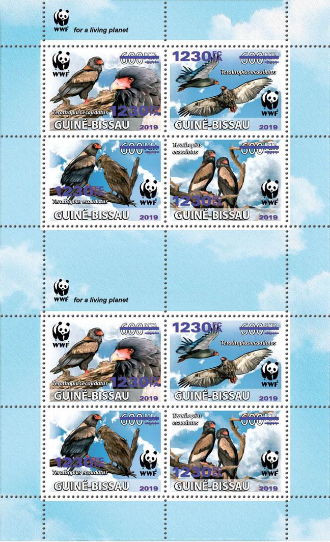 WWF overprint: Bateleur 8v (dark blue foil) - Issue of Guinée-Bissau postage stamps
