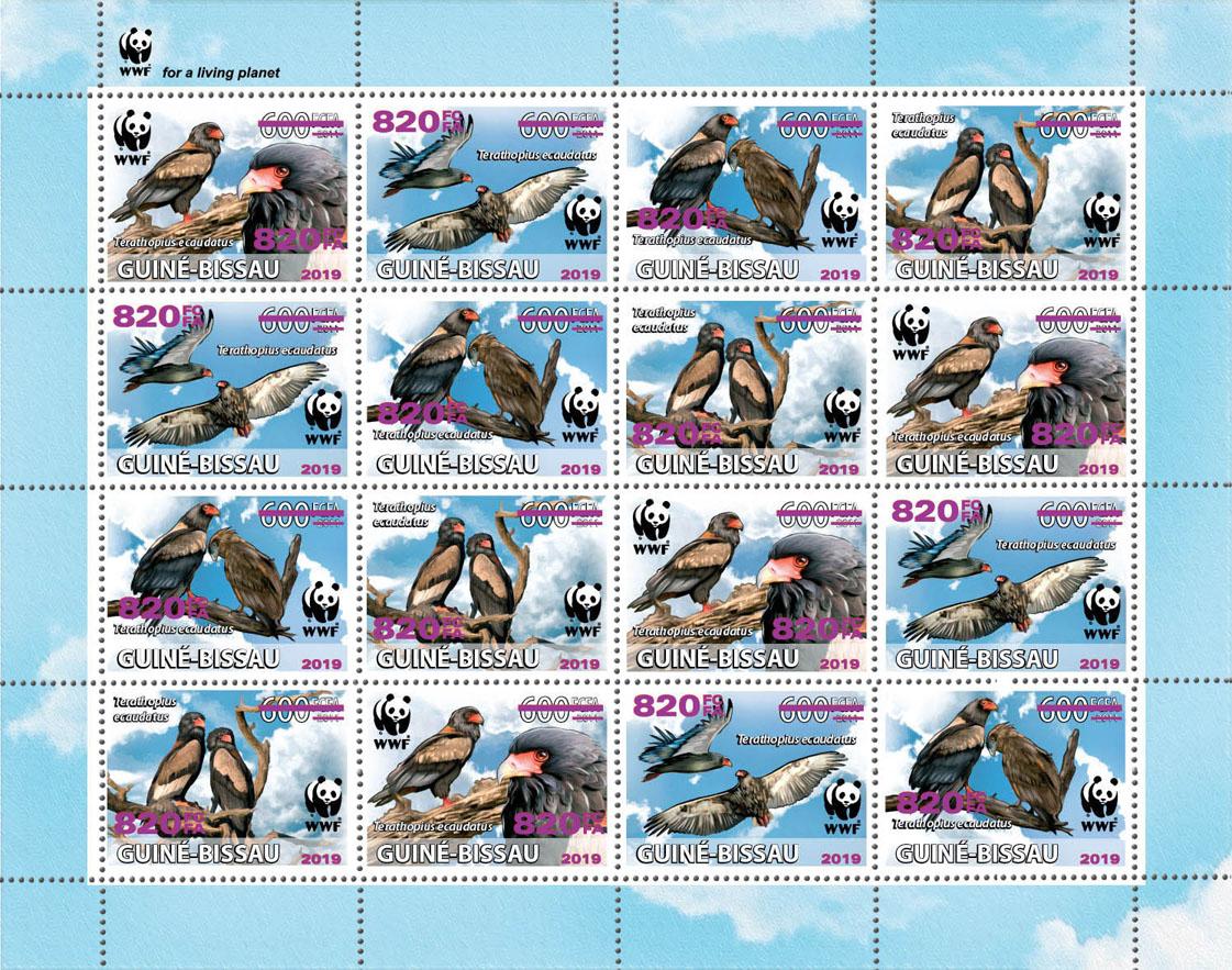 WWF overprint: Bateleur 16v (dark pink foil) - Issue of Guinée-Bissau postage stamps