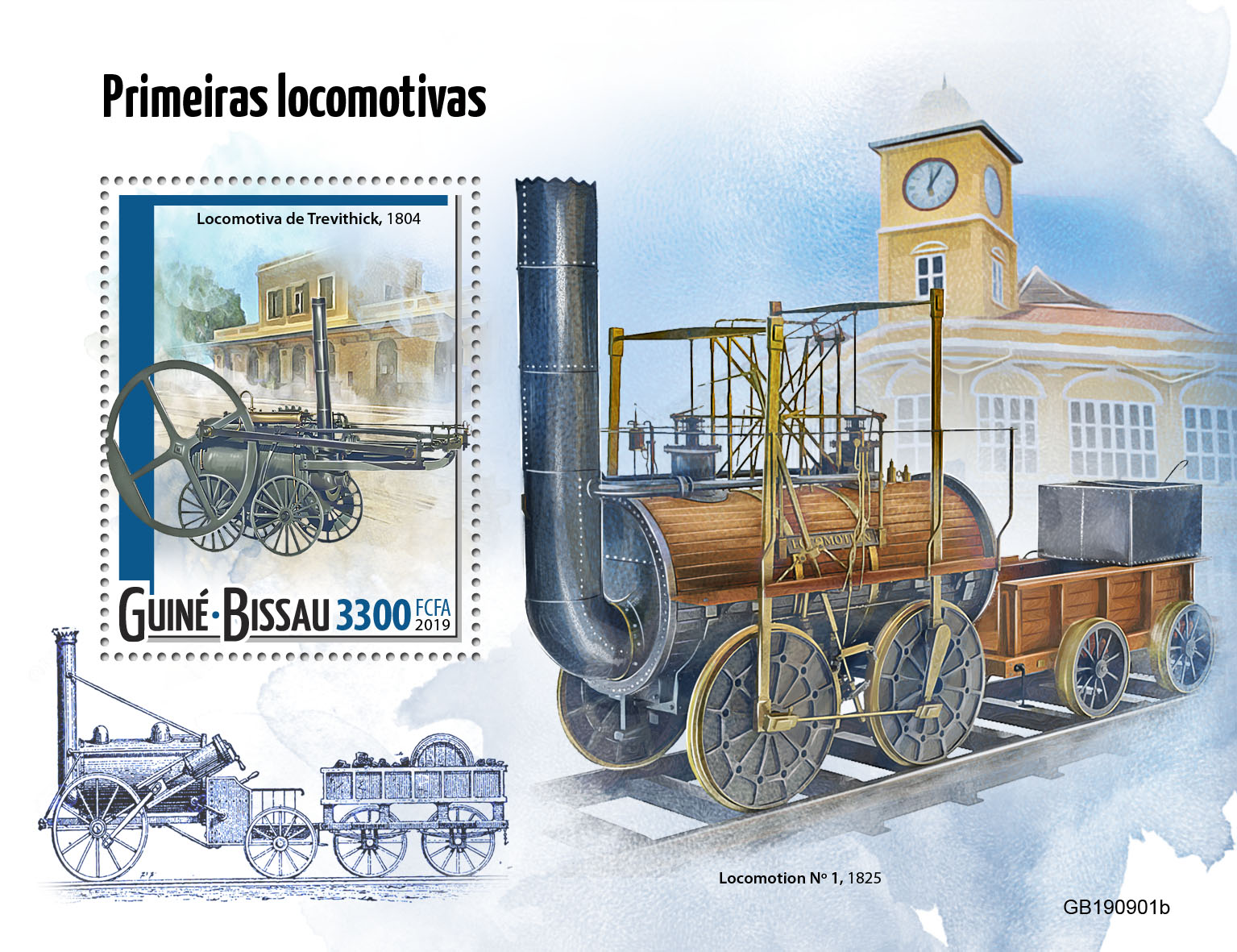 First trains - Issue of Guinée-Bissau postage stamps