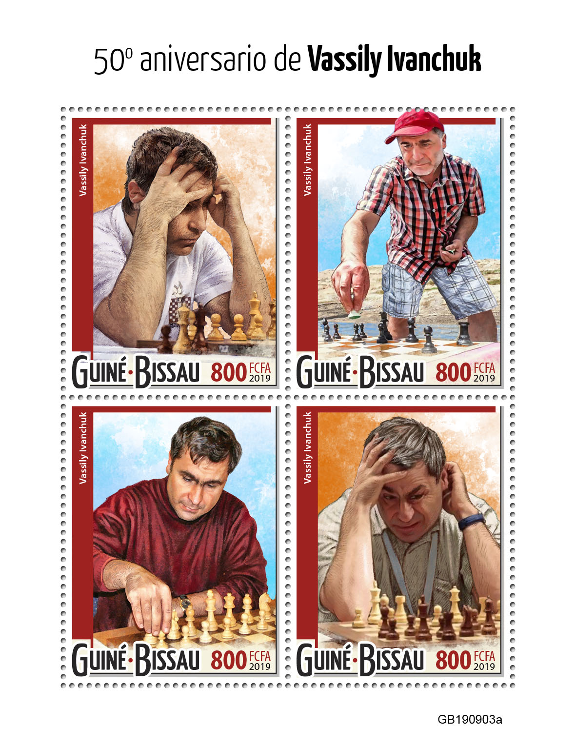 Vassily Ivanchuk - Issue of Guinée-Bissau postage stamps
