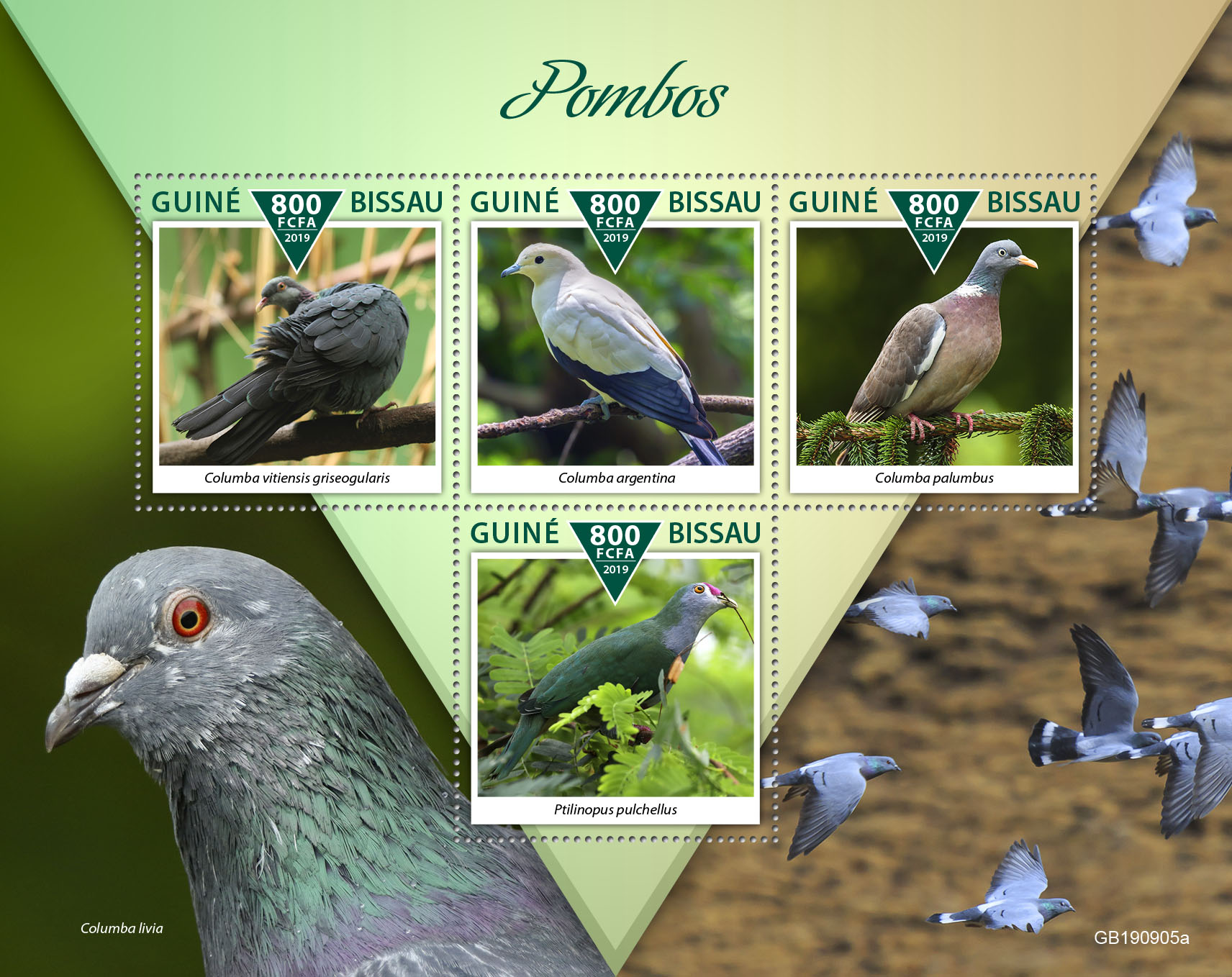 Pigeons - Issue of Guinée-Bissau postage stamps